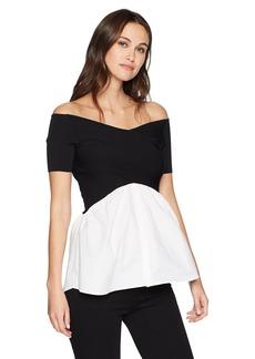 Nicole Miller New York Women's V Neck Detail Sweater Blouse  XL