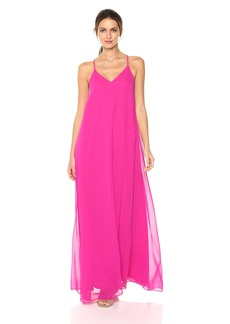 Nicole Miller New York Women's V-Neck Spaghetti Strap Long Maxi Party Dress
