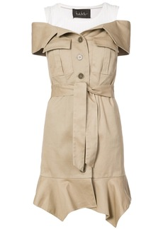 Nicole Miller off-the-shoulder button dress