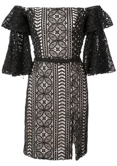 Nicole Miller off the shoulder lace dress - Black