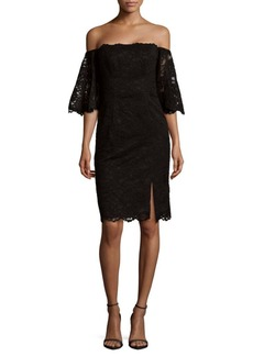 Nicole Miller Off-The-Shoulder Lace Dress