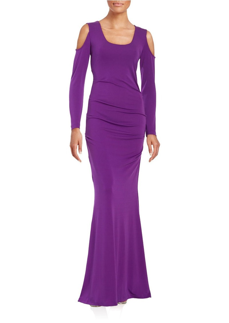 NICOLE MILLER Pleated Jersey Cold-Shoulder Mermaid Gown