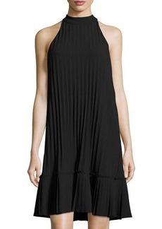 Nicole Miller Artelier Pleated Mock-Neck Trapeze Dress