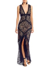 NICOLE MILLER Plunging-V Lace Gown
