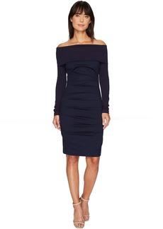 Nicole Miller Ponte Off Shoulder Tucked Dress