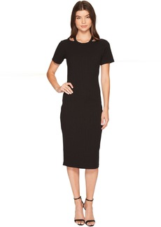 Nicole Miller Riley Short Sleeve Ribbed Cut Out Dress