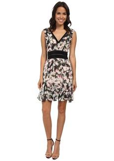 Nicole Miller Rose Trellis V-Neck Party Dress