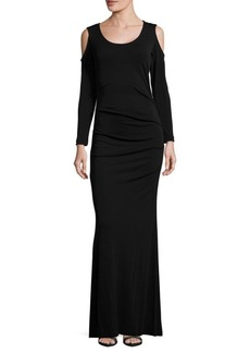 Nicole Miller Ruched Cold-Shoulder Gown