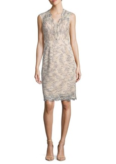 Nicole Miller Sequined Lace Sheath Dress