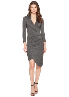 Nicole Miller Silver Glitz V-Neck Asymmetrical Dress