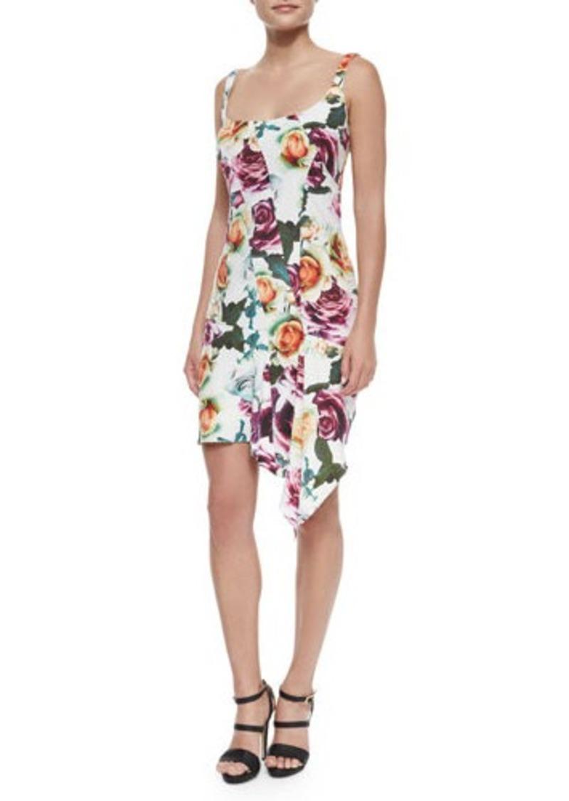 Nicole Miller Sleeveless Asymmetric Floral Cocktail Dress