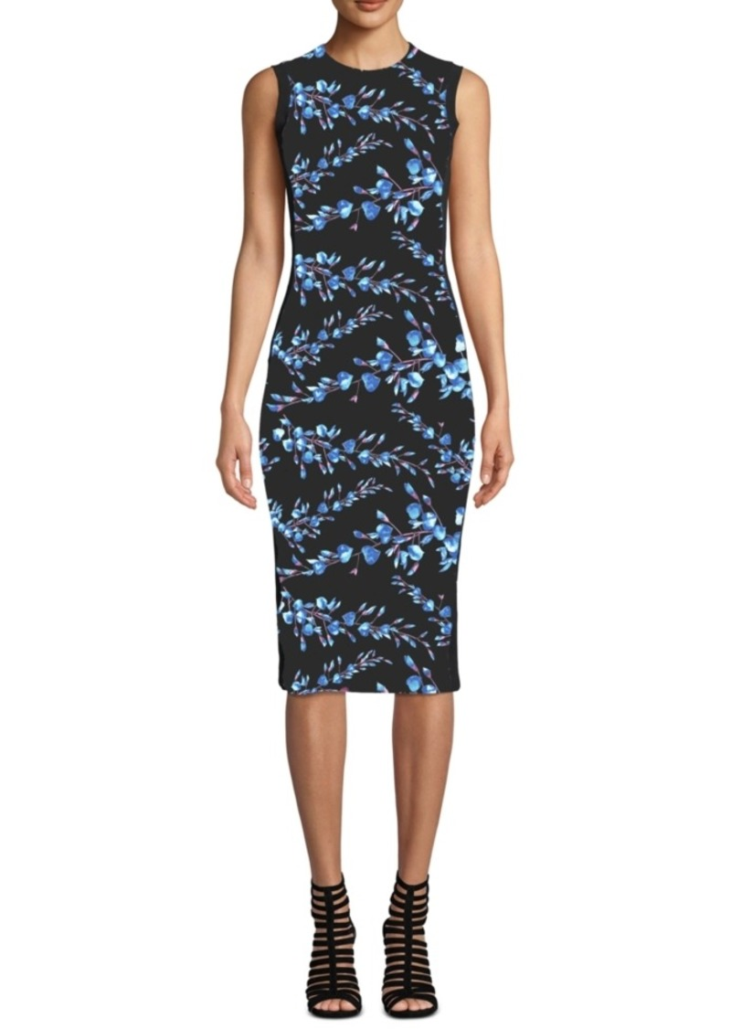 Nicole Miller Sleeveless Botanical Print Midi Dress