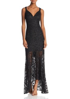 Nicole Miller Sleeveless Lace Sheer-Hem Gown