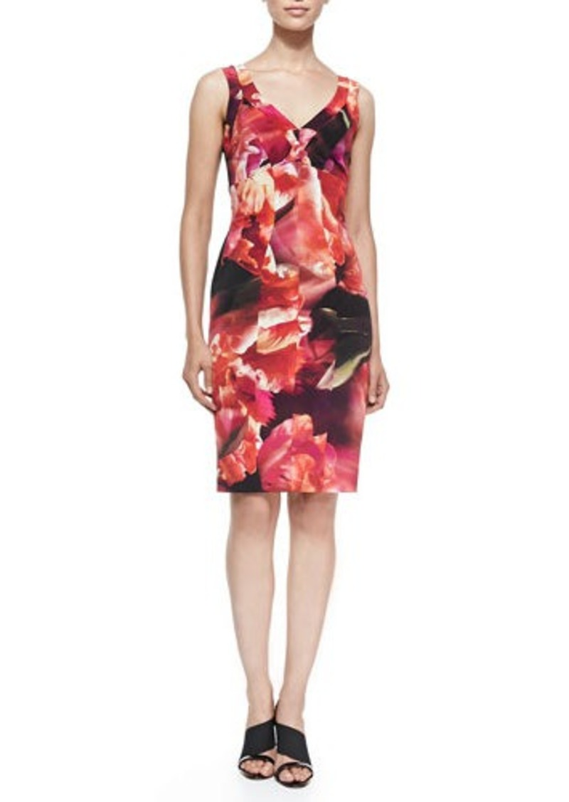 Nicole Miller Sleeveless Seamed Floral Cocktail Dress