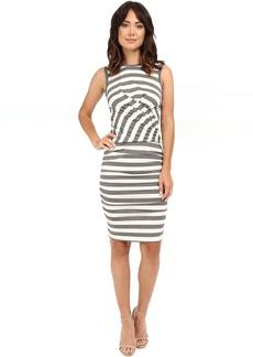 Nicole Miller Soft Stripe Jersey Blouson Wrap Dress
