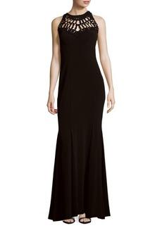 Nicole Miller Soutache Pattern Sleeveless Gown