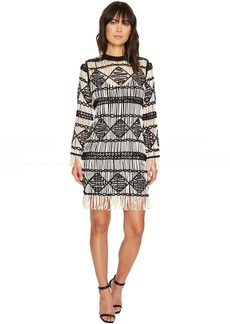 Nicole Miller Soutache Sweater Crew Neck Long Sleeve Dress
