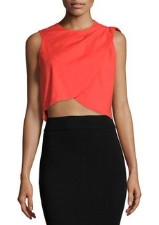 Nicole Miller Stretch-Linen Layered Cropped Tank