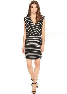 Nicole Miller Striped Jersey Blouson Dress