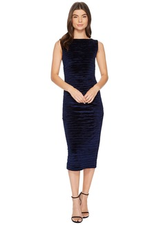 Nicole Miller Striped Velvet Lauren Ruched Dress