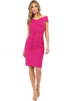 Nicole Miller Structured Jersey Palazzo Off-Shoulder Dress