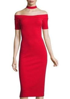 Nicole Miller Studio Choker-Collar Off-the-Shoulder Midi Dress