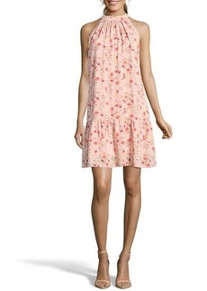 Nicole Miller Studio Mock-Neck Floral Trapeze Dress