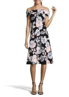 Nicole Miller Studio Off-The-Shoulder Floral Fit-&-Flare Dress
