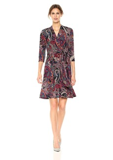 Nicole Miller Studio Women's 3/4 Sleeve Printed Jersey Faux Wrap Full Skirt Dress