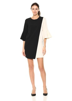 Nicole Miller Studio Women's Asymetrical Colorblocked Ruffle Long Sleeve Shift Dress