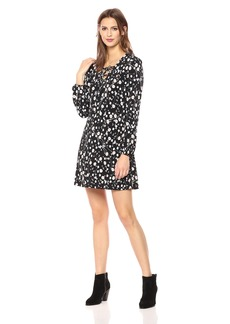 Nicole Miller Studio Women's  Disty Floral Puff Print Matte Jersey Lattice V-Neck Shfit Dress