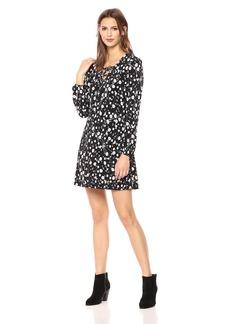Nicole Miller Studio Women's  Disty Floral Puff Print Matte Jersey Lattice V-Neck Shfit Dress