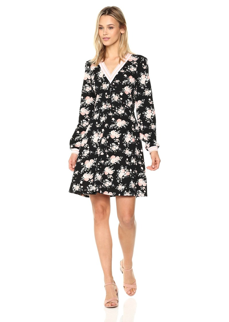 Nicole Miller Studio Women's Floral Print Long Sleeve Banded V-Neck Fit and Flare Dress