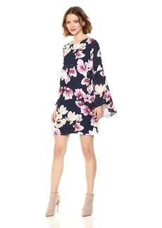 Nicole Miller Studio Women's Floral Printed Georgette Flutter Sleeve Shift Dress
