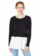 Nicole Miller Studio Women's French Terry Combo Sweatshirt black/White-00601
