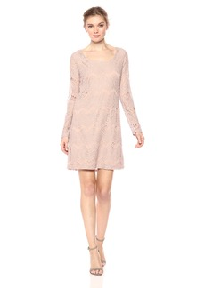 Nicole Miller Studio Women's Lace Long Sleeve Georgette Ribbon Tie Back Shift Dress