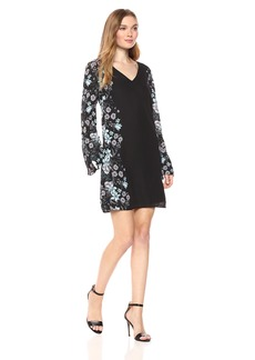 Nicole Miller Studio Women's Long Bell Sleeve Floral Placement Print Shift Dress