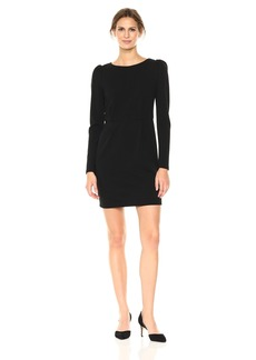 Nicole Miller Studio Women's Long Sleeve Puff Sleeve Textured Knit Seamed Sheath Dress