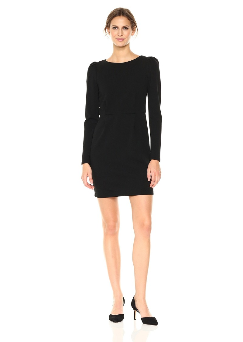Nicole Miller Studio Women's  Long sleeve Puff Sleeve Textured Knit Seamed Sheath Dress black