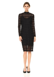 Nicole Miller Studio Women's Long Sleeve Sheer Plaid Lace Mock Neck Sheath Dress With Slip