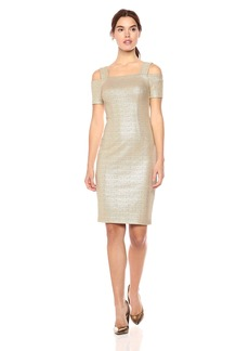 Nicole Miller Studio Women's  Metallic Printed Knit Cold Shoulder Midi Sheath Dress