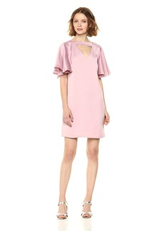 Nicole Miller Studio Women's Satin Back Crepe Flutter Sleeve Banded V-Neck Shift Dress