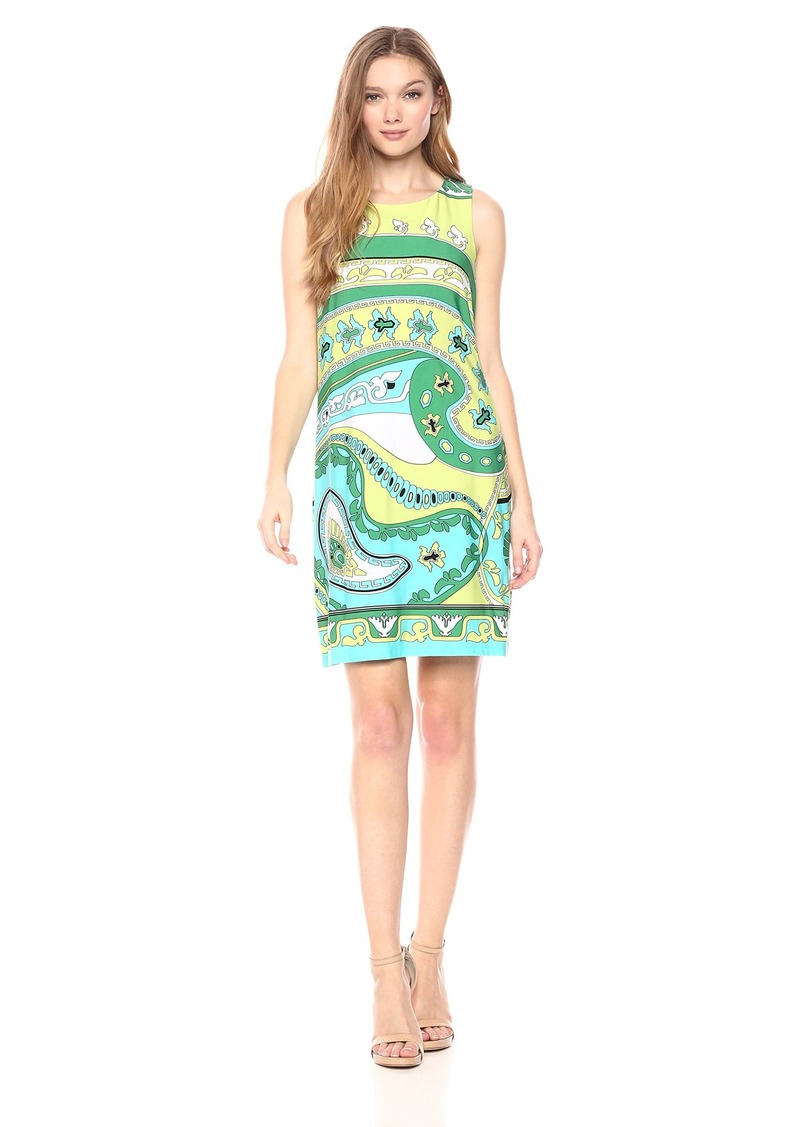 Nicole Miller Studio Women's Sleeveless Printed Matte Jersey Shift Dress