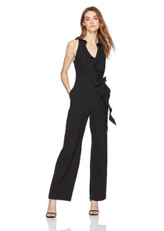 Nicole Miller Studio Women's Sleeveless Ruffled Surplice Jumpsuit with Ruffle Sash