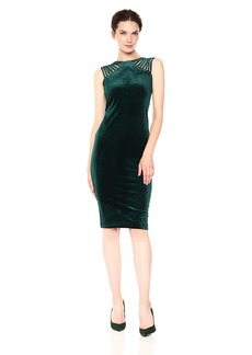 Nicole Miller Studio Women's Sleeveless Stappy Shoulder Stretch Velvet Sheath Midi