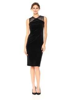 Nicole Miller Studio Women's Sleeveless Strappy Shoulder Velvet Spandex Sheath Midi