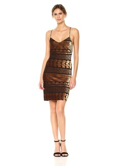 Nicole Miller Studio Women's Spaghetti Strap V-Neck Velvet Burnout Slip Dress Sheath