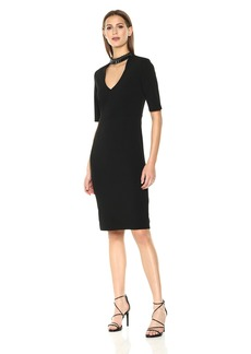 Nicole Miller Studio Women's Texture Knit Elbow Sleeve Beaded Choker Neck Sheath with V Back