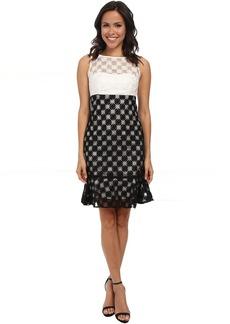 Nicole Miller Sunburst Combo Embroidery Dress