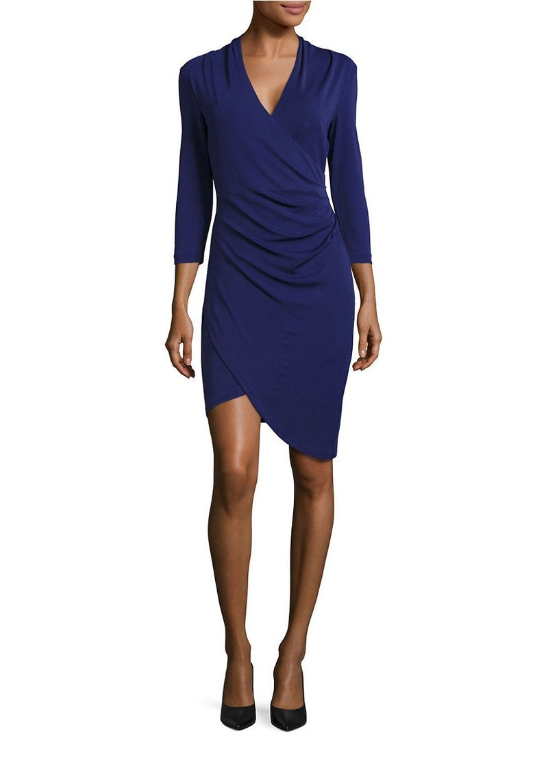 NICOLE MILLER Three-Quarter-Sleeve Mock-Wrap Sheath Dress